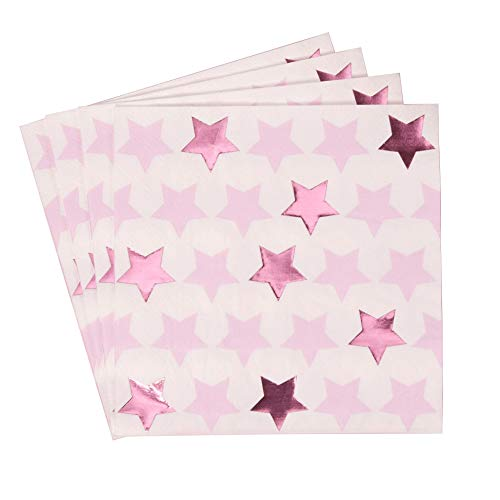 Neviti- Little Star Pink-Paper Napkin-16 Pack Assiette en Carton, 775325, Rose, 16.5 x 16.5 x 0.1