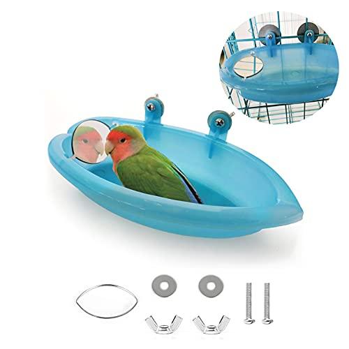 TSHAOUN Vasca da Bagno per Uccelli Doccia da Bagno Bacinella con Specchio Appeso Vasca per Uccelli Animali Domestici Piccoli Uccelli Giocattolo Accessori per Pappagalli Vassoio (Blu)