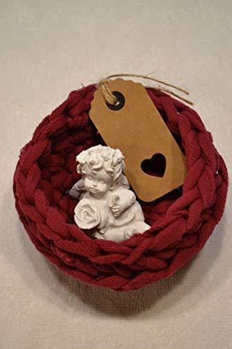 Geschenkkorb Engel Schutzengel Karte Geschenk 3 teilig rot Utensilo Körbchen Korb von Hand gehäkelt