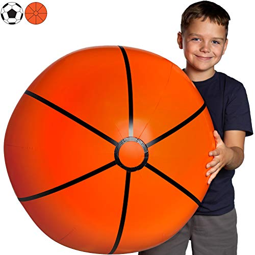 Large Beach Ball for Kids: Best Basketball Giant Beach Balls for Pool. Easy Blow Up Big Inflatable Beachball. Fun Water Toys & Kid Party Favor for Boys & Girls Summer Birthday Parties & Outdoor Games