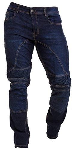 Qaswa Herren Motorradhose Jeans Motorrad Hose Motorradrüstung Schutzauskleidung Motorcycle Biker Pants-34W / 32L-Dark Blue