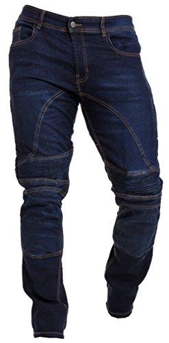 Qaswa Herren Motorradhose Jeans Motorrad Hose Motorradrüstung Schutzauskleidung Motorcycle Biker Pants-34W / 34L-Dark Blue