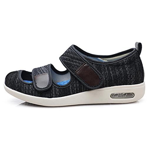 CCSSWW Zapatillas para DiabéTicos con Espuma,Zapatos DiabéTicos Respirable Zapatillas-Ceniza Oscura_41,Velcro Zapatillas OrtopéDica para
