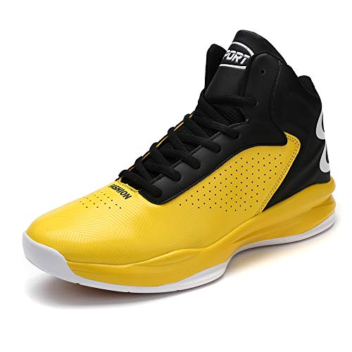 CXQWAN Les Formateurs Non-Slip Homme, Chaussures de Basket-Ball Haute Performance Choc Chaussures de Course pour intérieur et extérieur en Plastique Cour Venues ou marchepieds,Jaune,39