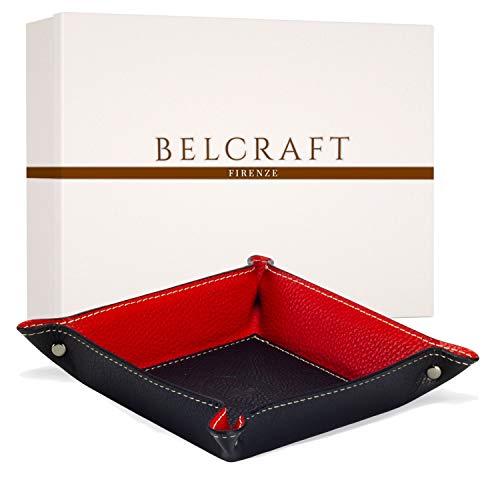Belcraft Luni Taschenleerer Leder, Elegantes Geschenk mit Geschenkbox, Handgearbeitet in klassischem italienischem Stil, Ordentlich Tablett, Schwarz (19x19 cm)