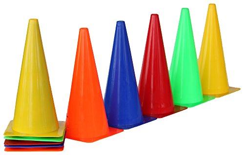 Boje Sport 10er Set Markierkegel, 38 cm, 5 Farben: 2X blau, 2X grün, 2X rot, 2X gelb, 2X orange
