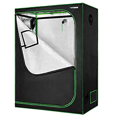 VIVOSUN Mylar Hydroponic Grow Tent with Observation Window and Floor Tray for Indoor Plant Growing