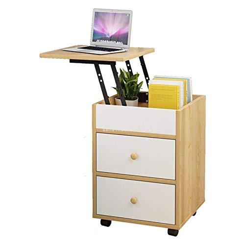 Rowe Multifuncional de la cabecera del gabinete de Escritorio de Madera elevable Moderno Noche Mesa de la Sala Dormitorio Mesilla de Noche 2 Gabinete de Almacenamiento de cajón (Color : Cedar Color)