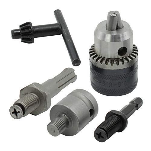 Bardland JT-10 Juego de herramientas de conversión de mandril de taladro con llave de 1,5-10 mm con adaptador de zócalo de 3/8 'para trabajo pesado, llave de mandril de taladro de 10 mm,