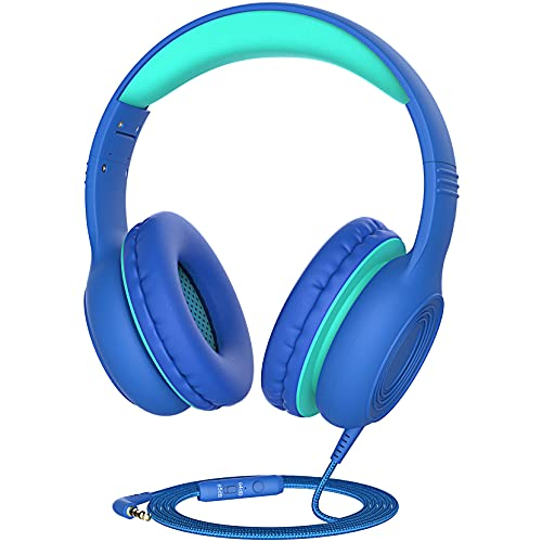 Kids Headphones with Microphone, Over-Ear Headsets with Sound Sharing Function and 85dB/94dB Volume Limit for Children Boys & Girls, with 3.5mm Audio Jack for PC/Tablet/Cellphone/Pad