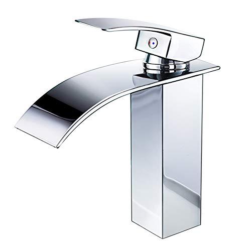 Wasserhahn Bad,wasserfall Wasserhahn Badezimmer Waschbecken,Einhandmischer Spülbecken Waschtischarmaturen,Kaltes und Heißes Wasser Vorhanden, Messing Verchromt wasserhähne für bad Moderner Stil