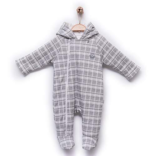 Kitikate Grenouillère d'hiver à capuche pour bébé 100 % coton bio - Gris - 9 mois