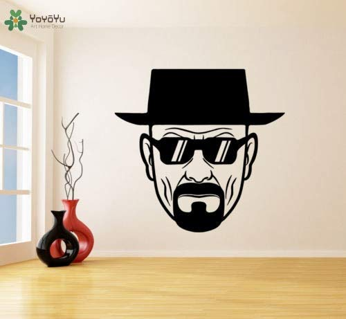 kinderkamer muurstickers logo, muursticker vinyl kamer decoratie verbrijzeld Heisenberg met zonnebril Arr muursticker63x66cm