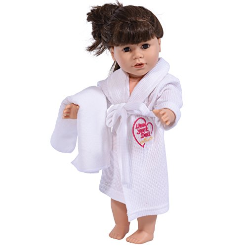 18 Inch Doll Robe in White with Towel Fits American Girl Dolls - Doll Bathrobe and Tie Belt with Towel (White)