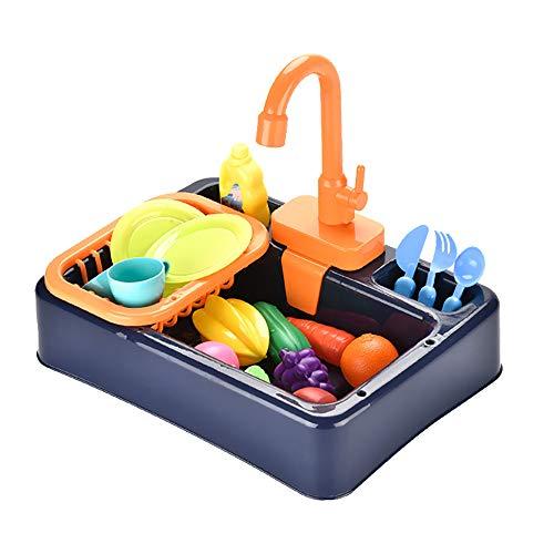 DIYARTS Kinder Küche Spüle Spielzeug simuliert elektrische Waschküche Sets Geschirrspüler Play Toys Sets für 3-6 Jahre alte Kinder 4 Farben erhältlich (Blau)