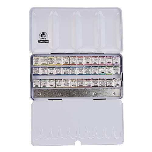 Schmincke – HORADAM AQUARELL Farbkasten mit 36 feinsten Aquarellfarben, 74436097, Metallkasten, Malset, Aquarellfarben, 36 x 1/2 Näpfchen, Platz für 12 weitere 1/2 Näpfchen