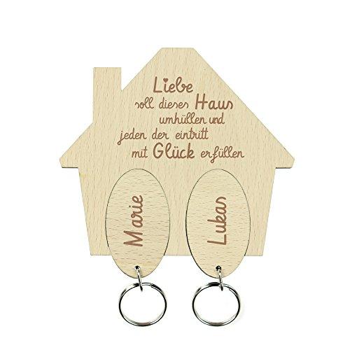 Casa Vivente Schlüsselbrett aus Holz mit Zwei Schlüsselanhängern, Schlüsselhäuschen mit Gravur Haussegen, Personalisiert mit Namen, Geschenkidee für Paare