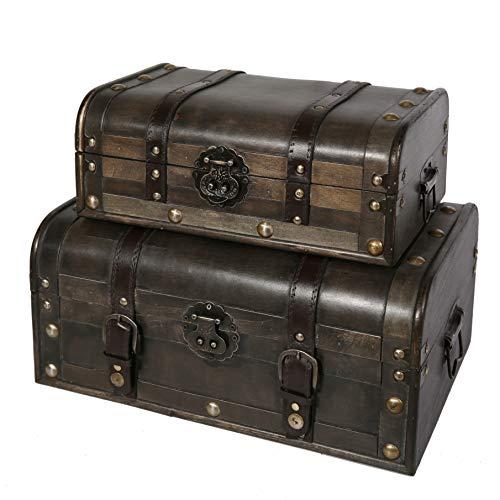 Soul & Lane Explorations Decorative Wooden Storage Trunk (Set of 2) | Antique Vintage Suitcase Chest with Straps