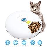 JIAMA Alimentador Automático de Mascotas, Dispensador de Alimentos para Perros, Gatos y Animales Pequeños, Temporizador Digital Programable, Alimentación por USB o Batería, 6 Bandejas de Comida (90g)