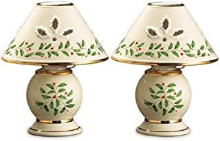 Lenox Holiday Gold-Banded Tea Light Lamps, Set of 2