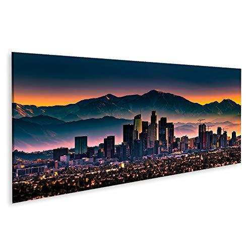 Bild auf Leinwand Downtown Los Angeles Skyline Sonnenaufgang Bilder Wandbild Poster Leinwandbild