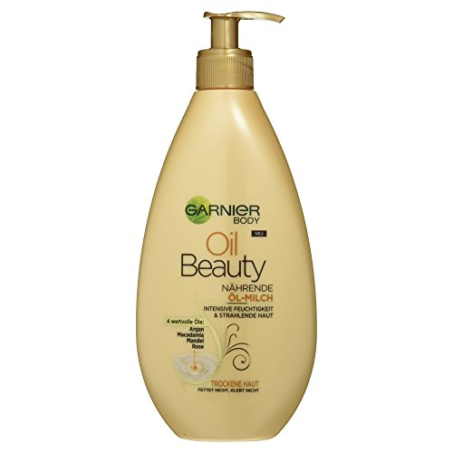 Garnier Oil Beauty Nährende Öl-Milch, reichhaltige Bodylotion mit Arganöl, Mandelöl, Rosenöl und Macadamia, 400 ml