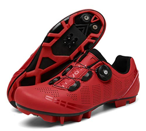 Govoland Cycling Shoes Men's And Women's Mountain Bike Cycling Shoes Laces Bicycle Shoes Indoor/outdoor With Lock(39, Red)