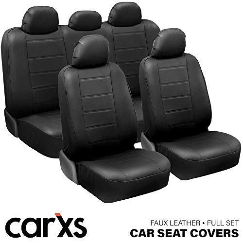 carXS UltraLuxe Black Faux Leather Car Seat Covers, Full Set – Front and Rear Bench Back Seat Cover, Padded for Comfort, Universal Fit for Cars Trucks Vans & SUVs