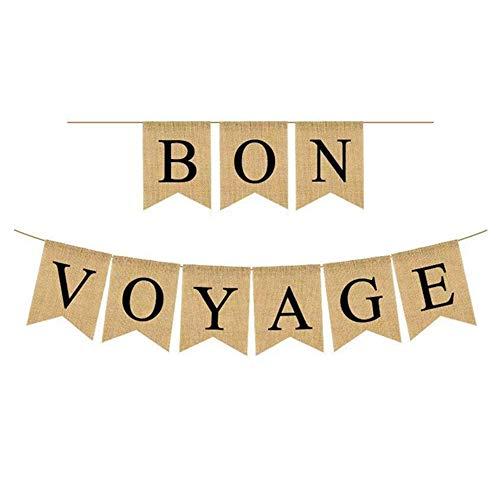 NA Bon Voyage Banner Jute Vintage Girlande Sacwinzigen Banner für Abschiedsparty-Dekoration