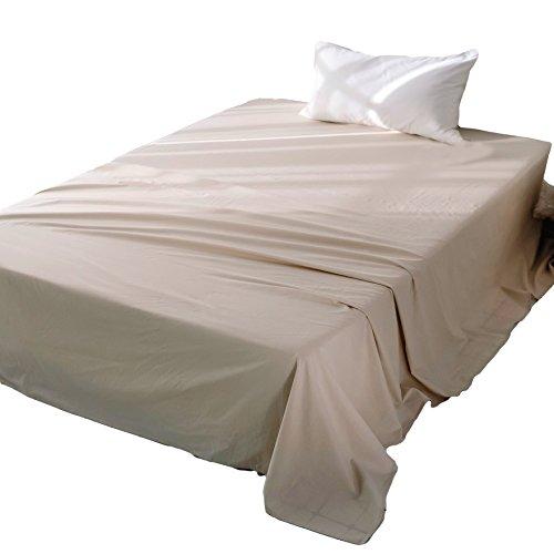 フラットシーツ クイーン オーガニックコットン洗いざらしの綿100% 敷布団用 抗菌 防臭加工 敷きシーツ ベージュ