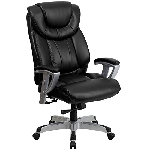 Flash Furniture HERCULES Series Big & Tall 400 lb. Rated Black LeatherSoft Executive Ergonomic Office Chair with Silver Adjustable Arms