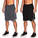 AND1 Men's Basketball Gym Fitness & Running Shorts with Elastic Waistband & Pockets - Black/Ebony - 2 Pack, XX-Large