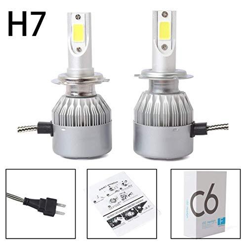TOOGOO Nouveau 2pcs C6 LED Phare de Voiture Kit COB H7 36W 7600LM Ampoules Blanches