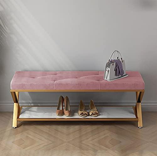 XIAOPENG Banco de Zapatero con cojín tapizado, Asiento Acolchado, Organizador de Zapatos, para Pasillo, Dormitorio, Sala de Estar, Entrada