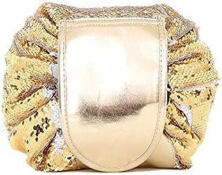 FidgetGear Mermaid Sequin Makeup Storage Bag Organizer Travel Large Capacity Round Cosmetic Gold One Size