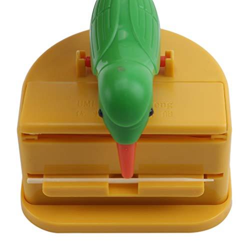 Kaned Creative Bird Toothpick Box Automatischer Zahnstocherspender Drücken Sie den Zahnstocherhalter, grüner Vogel gelber Hintergrund