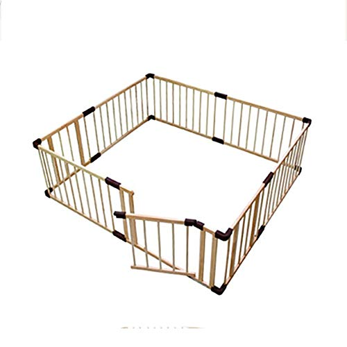Check Out This Baby playpen Portable Wooden with Safety Gate, Indoor Children's Game Fence Room Divi...