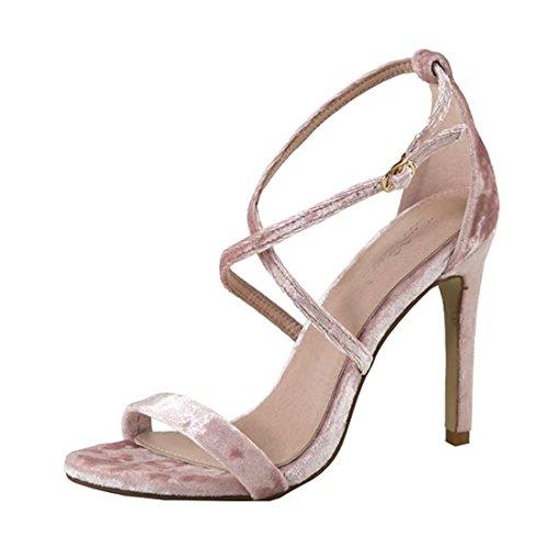 Dusty Pink Velvet Open Toe Strappy High Heel Pump Dress Sandal Shoes, Size 7.5