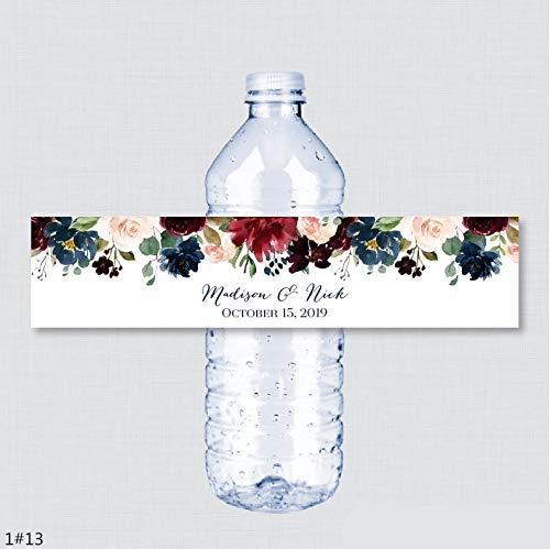 Benutzerdefinierter Name Hochzeit Wasserflasche Etiketten Mädchen Geburtstagsfeier Blume Benutzerdefinierte Wasserflasche Etiketten Hochzeitsdekoration 24PCS / Los