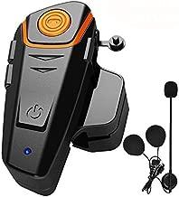 Motorcycle Bluetooth Headset, BT-S2 Motorbike Helmet Intercom up to 3 Riders 1000M Helmet Communication System Supports Handsfree/Stereo Music/FM/GPS/ MP3 (Boom Microphone,Single)