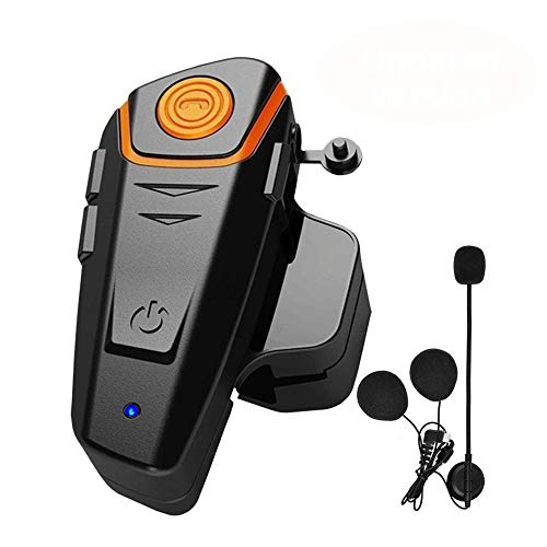 Motorcycle Bluetooth Headset, BT-S2 Motorbike Helmet Intercom up to 3 Riders 1000M Helmet Communication System Supports Handsfree/Stereo Music/FM/GPS/ MP3 (Boom Microphone,Single)