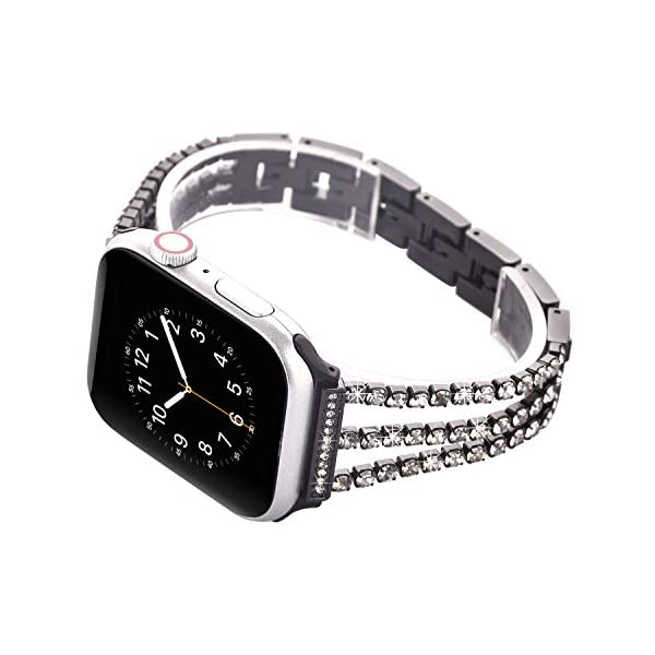 Watch Straps compatible Apple Watch 38mm/40mm,Women Glitter Stainless Steel Band,Bracelet with Folding clasps Replacement Wristband for iWactch 40mm Series 4/3/2/1
