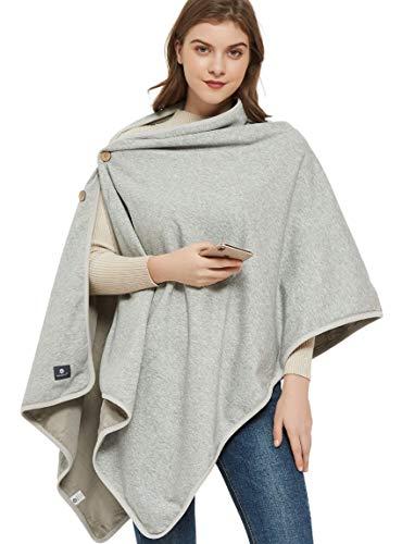 Radia Smart EMF Wrap Poncho  Radiation Protection  Large Pregnancy Blanket, 5G Anti-Radiation, Cotton, EMF Blanket 28' x 72', Grey