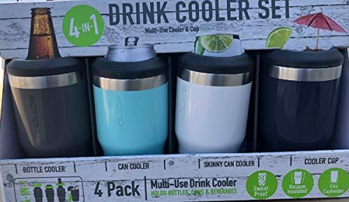 REDUCE Cold Bottle/Can Cooler, – Double Wall Vacuum Insulated Sweat-Free 4 Pack...