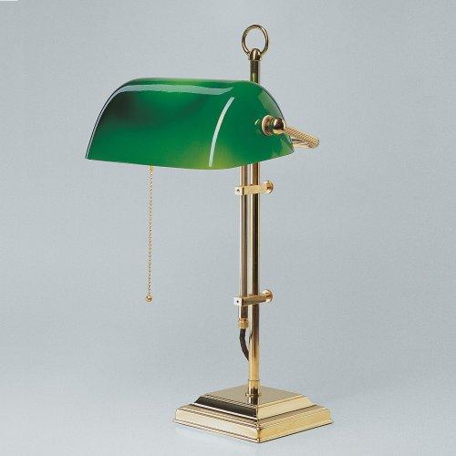 Unbekannt Bankers Lamp, grüner Schirm Gestell aus glänzend poliertem Messing - (W2-99 gr P)