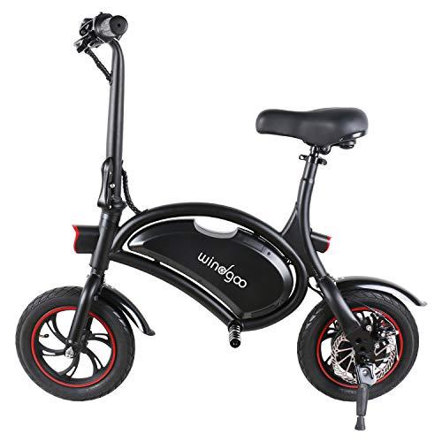 Windgoo, Elektrofahrrad, 12-14 Zoll, Elektro-Scooter, Leistung 350 W, Akku 36 V, 6,0 Ah, E-Bike, klappbar, Geschwindigkeit max. 30 km/h, Schwarz