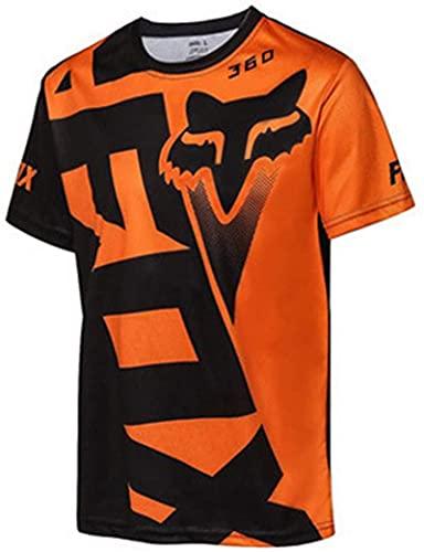 NOPEXTO Radfahren Jersey,Herren Mountainbike MTB Top Kurzarm Atmungsaktiv Bequem Weich Feuchtigkeitstransport Radtrikot (Schwarz Orange,L)