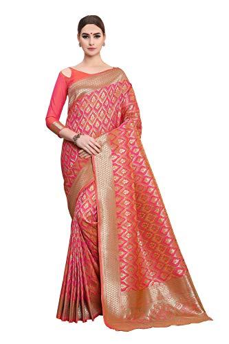 Soru Fashion Women's Pure Banarasi Art Silk Light Pink Sar