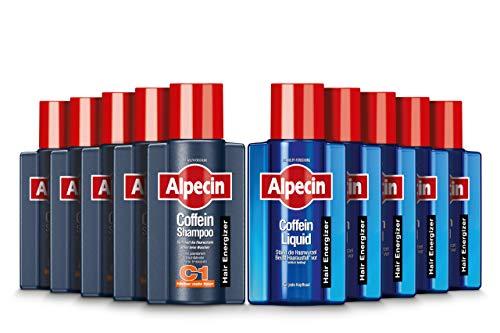 Alpecin Coffein-Shampoo C1, 5 x 75ml + Coffein-Liquid, 5 x 75 ml - Beugt erblich bedingtem Haarausfall vor | Für fühlbar mehr Haar | Praktische Reisegröße fürs Flugzeug