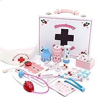 TONGJI Arztkoffer Kinder, 22 Teile Kinder Doktorkoffer Holz Arztkoffer Doktorspiele Rollenspiel Spielzeug für Kinder Über 3 Jahre Alt
